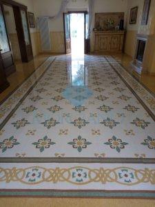 ripristino del pavimento in graniglia di marmo Lecce